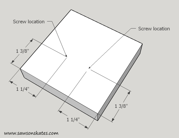 stocking holder base screw location