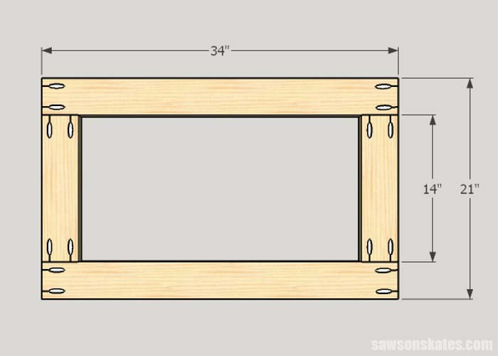 Sketch showing the bottom dimensions of the Sketch showing the bottom assembly of the DIY Flip-Top Cart