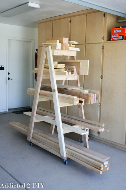 9 diy ideas for wood storage for Mobile lumber storage rack plans