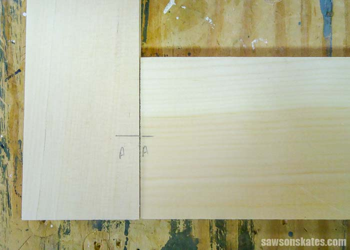 Transferring pencil marks from rails to stiles that will be used to build a DIY window screen