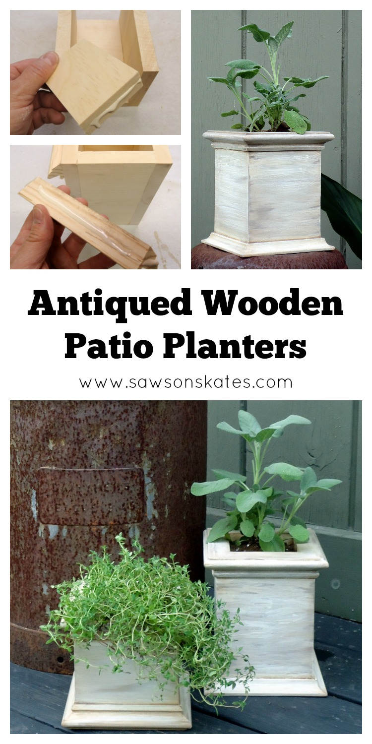 pin finishedSo cute! This tutorial shows how to make DIY antique style wooden planters using scrap wood! I'm totally making these for my patio!