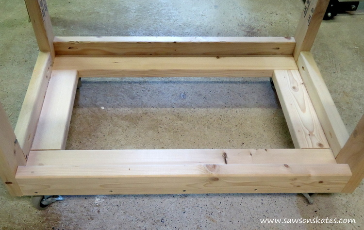 diy fliptop workbench cart storage tray hole