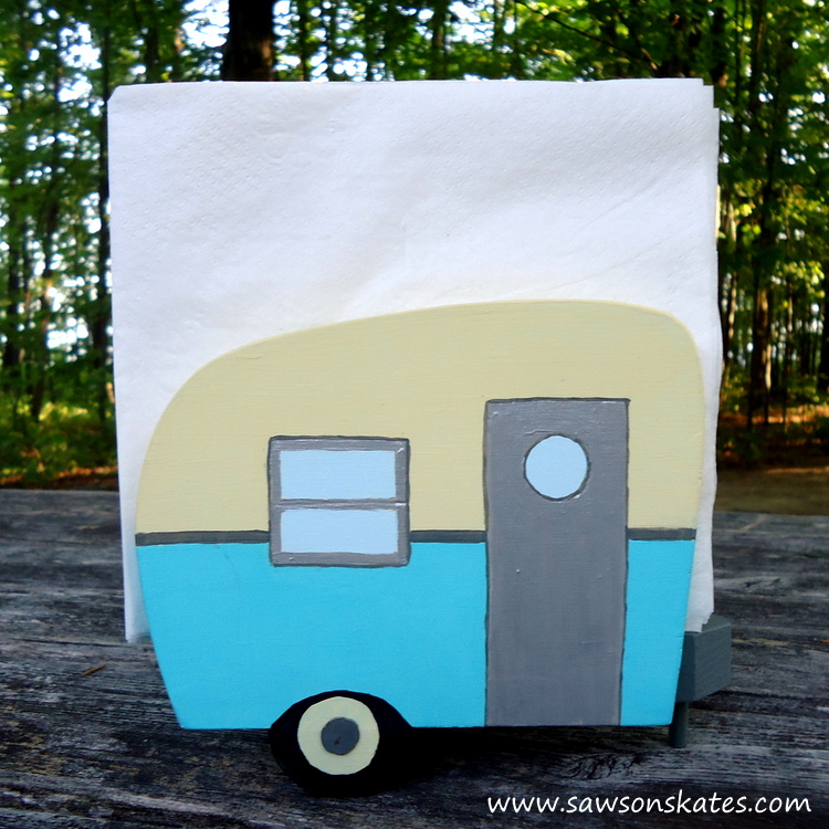 Blue Vintage Camper Napkin Holder - Free Plans