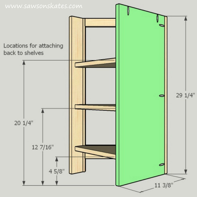DIY Corner Cabinet - install the left back