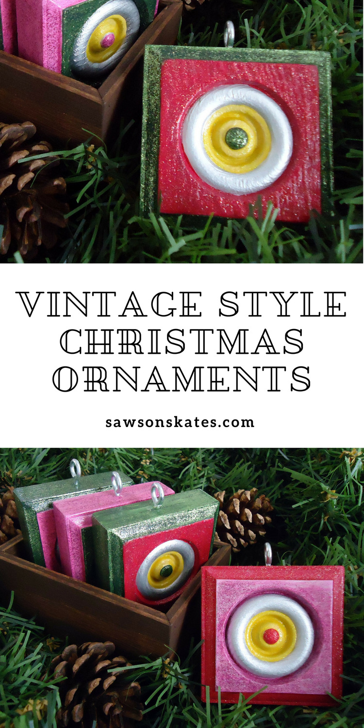 Looking for DIY Christmas ornament ideas? Check these out! Inspired by vintage glass ornaments, inexpensive wood rosettes are transformed into ornaments with the use of metallic and glitter paints!