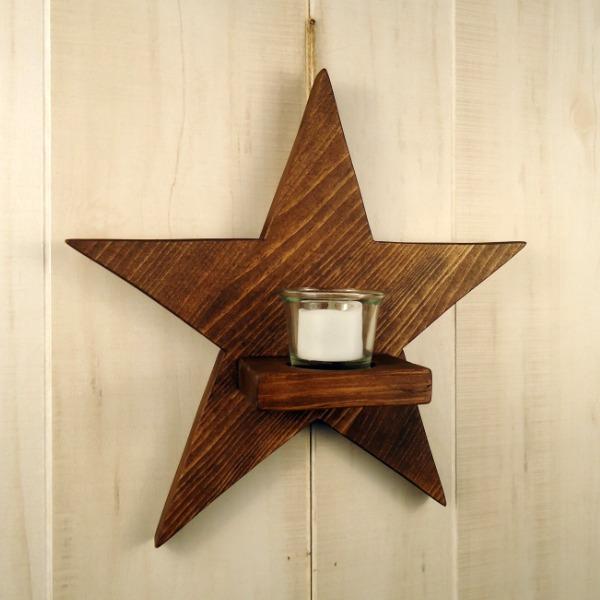 DIY Rustic Wood Star Sconce