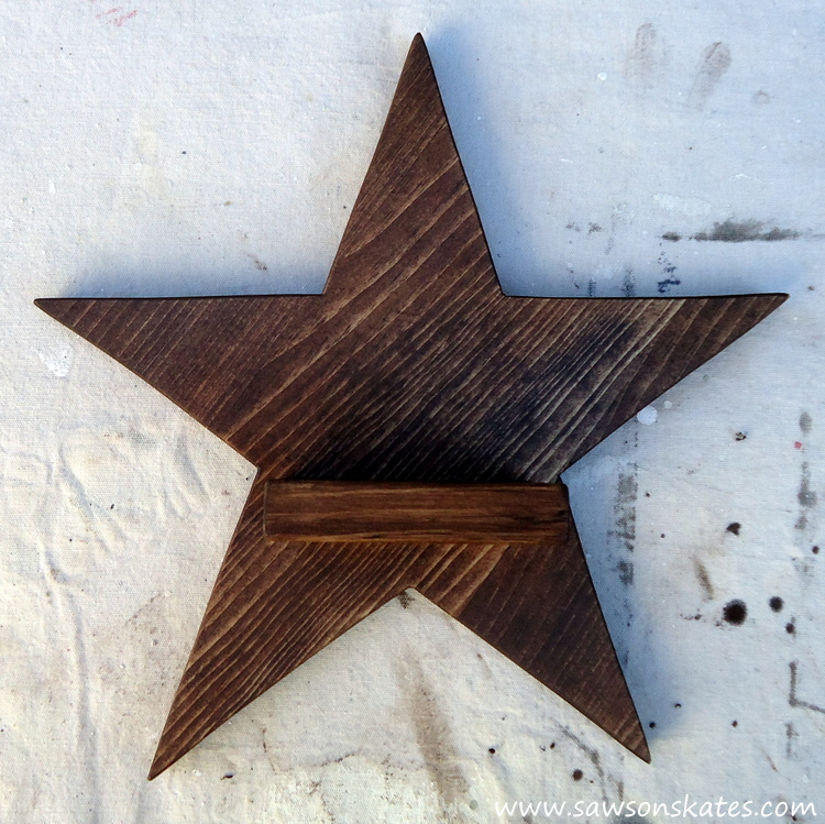 DIY Rustic Wood Star Sconce - sand and stain