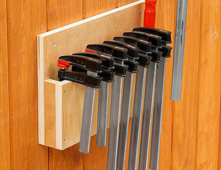 Maximizes storage space in your small workshop with this Easy Clamp Storage Rack