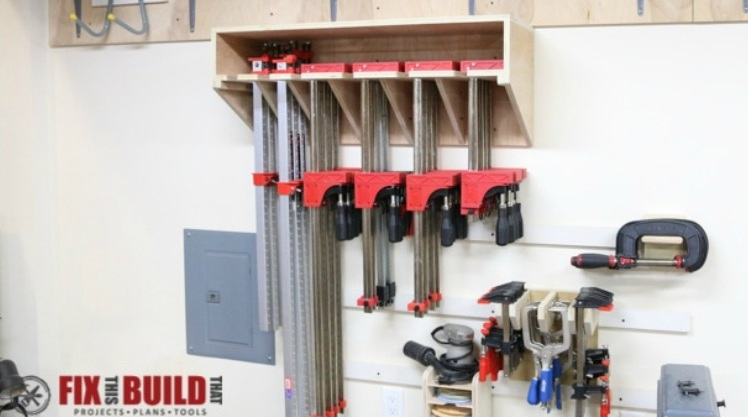 Maximizes storage space in your small workshop with thi Space Saving Parallel Clamp Rack