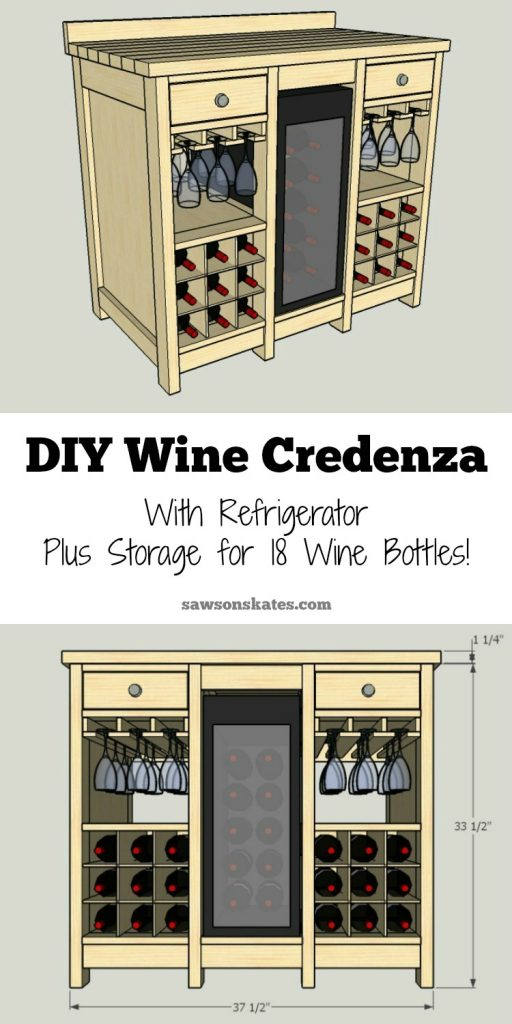 Diy Wine Credenza With Refrigerator Free Plans Saws On Skates