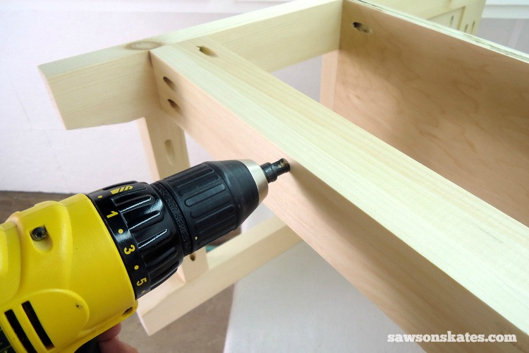 Small DIY Bathroom vanity plans - drill a countersink hole in the back slate