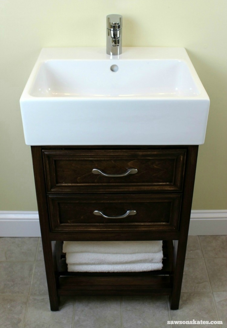 Check out the plans for this small DIY vanity. It features book-matched panels , faux drawers and an IKEA Yddingen sink. It's BIG on style, but fits in a small space!