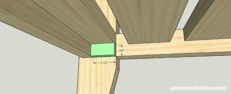 Small DIY Bathroom vanity plans - make a support piece for the front slat