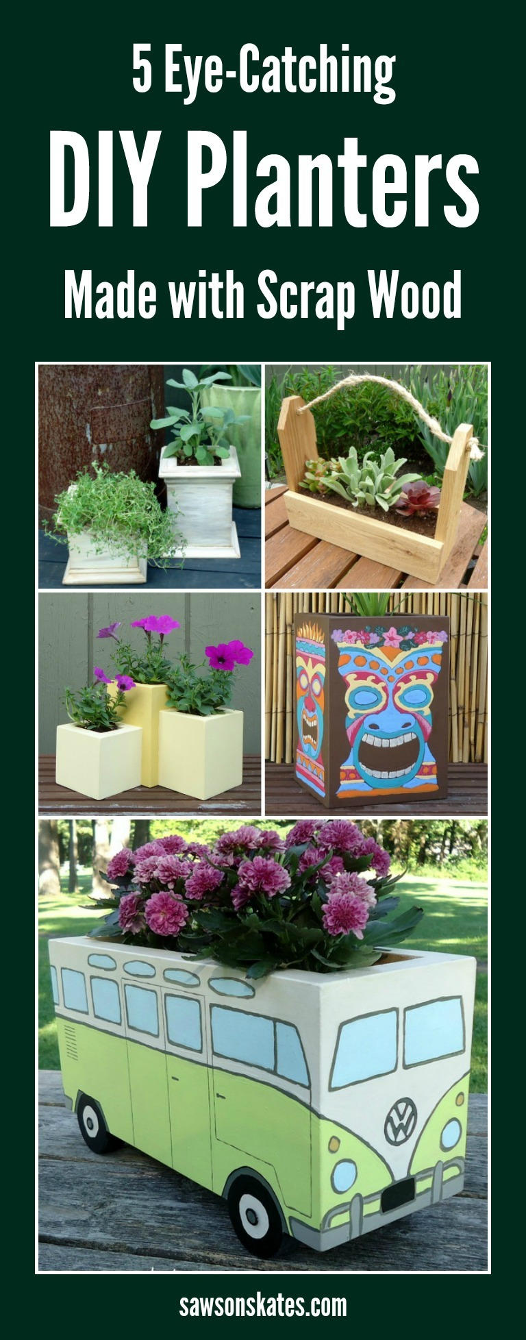 Searching for some cheap planter ideas? These wooden DIY outdoor planters are practically FREE! They're all made with scrap wood. They're all unique and they're all perfect for your garden!