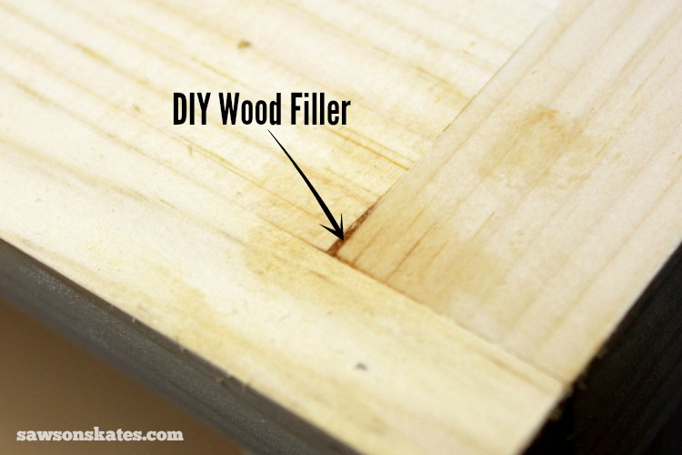 This easy to make DIY wood filler is perfect for filling nail holes, cracks or gaps in wood - gap filled with DIY wood filler