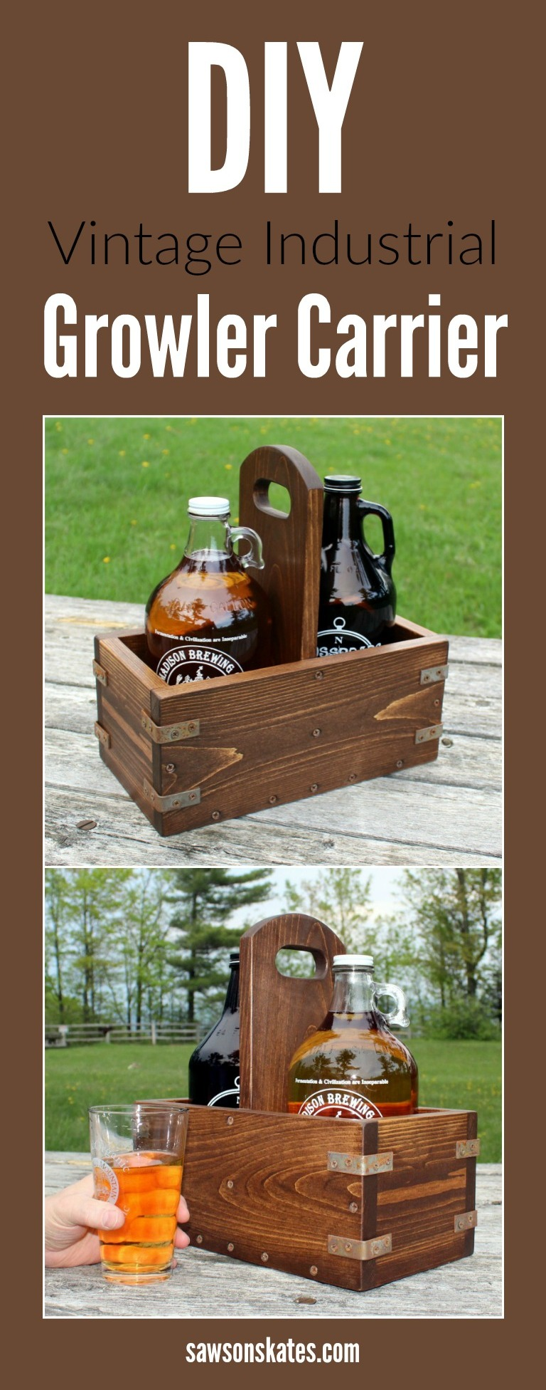 If you're a craft beer fan than you need a growler tote! You can make your own DIY wooden growler carrier with these easy to follow plans. The carrier features a dark stain, aged metal corner brackets and drain holes in the bottom.