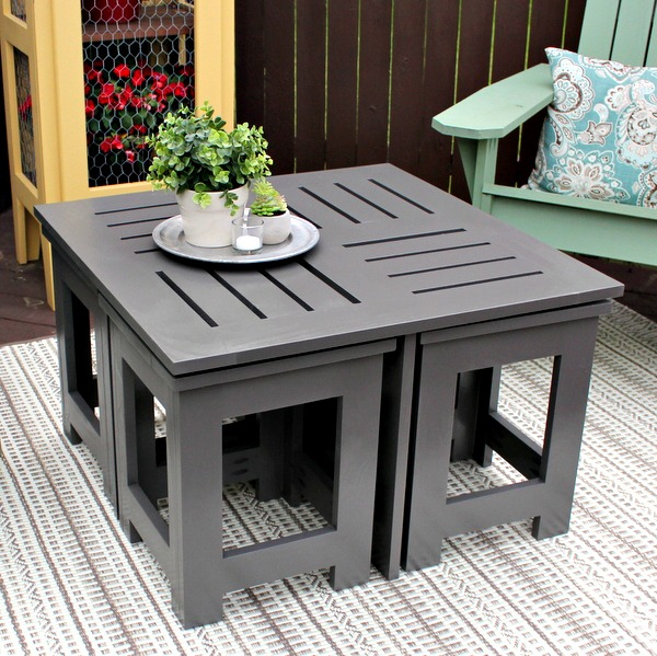 Diy outdoor coffee table with 4 hidden side tables for Diy hidden table
