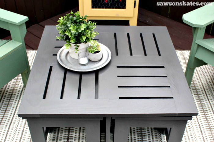 Easy DIY outdoor coffee table plan with 4 hidden side tables - features a unique top