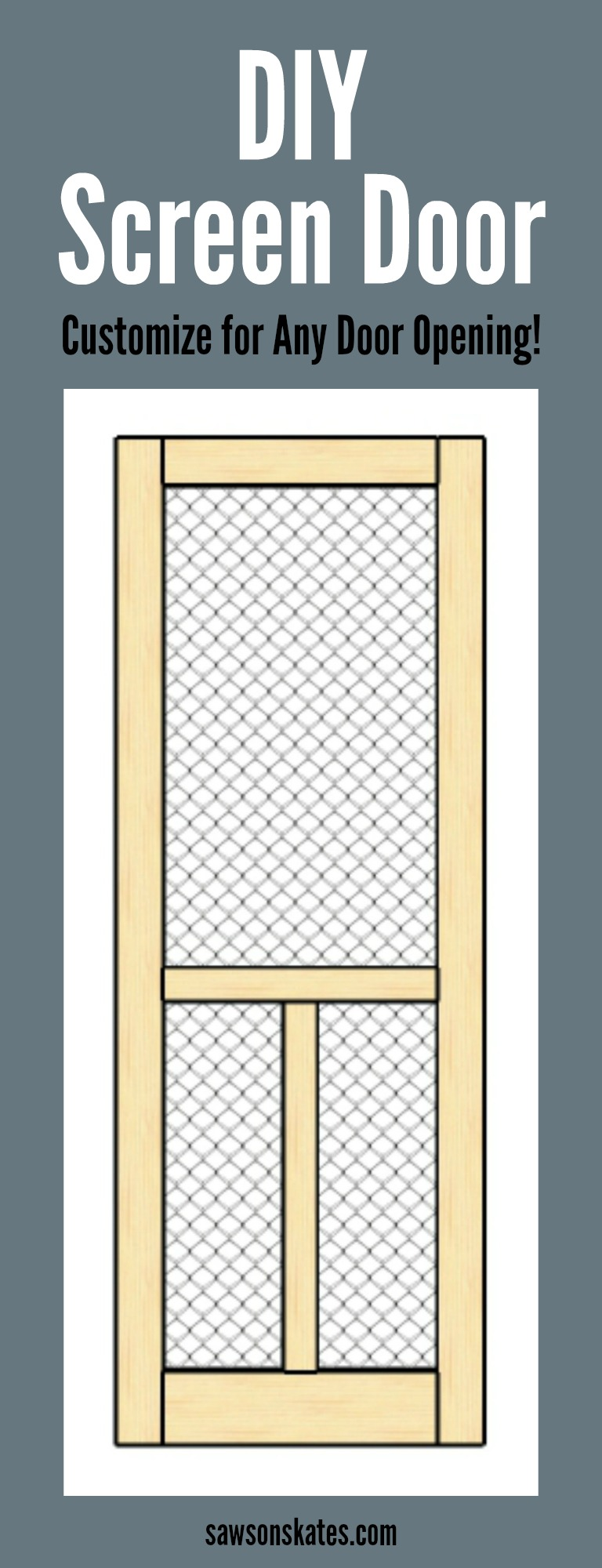 Looking for screen door ideas? DIY your own! This easy to follow plan shows how to build a wooden DIY screen door which can be customized to fit any door opening.