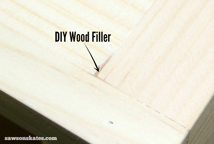 This easy to make DIY wood filler is perfect for filling nail holes, cracks or gaps in wood - wood filler sanded