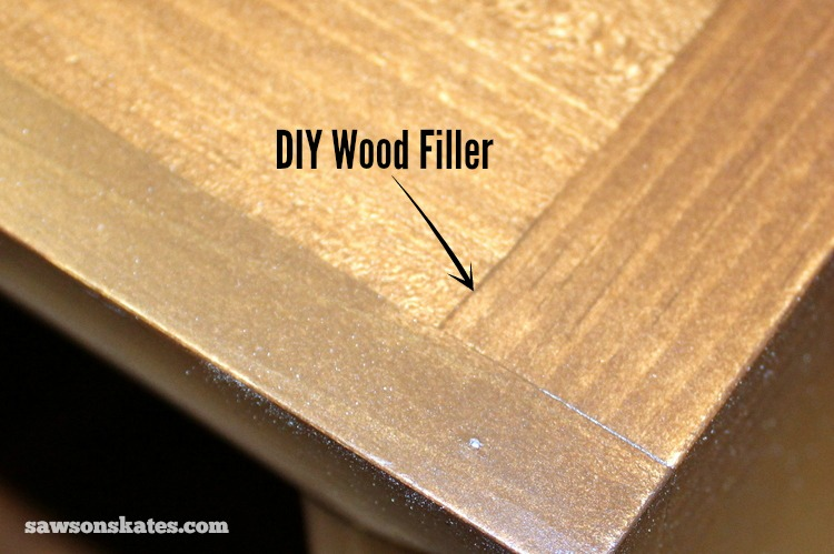 This easy to make DIY wood filler is perfect for filling nail holes, cracks or gaps in wood - wood filler stained