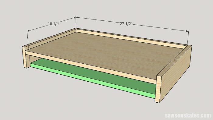 DIY ladder desk - cut and attach the desk bottom
