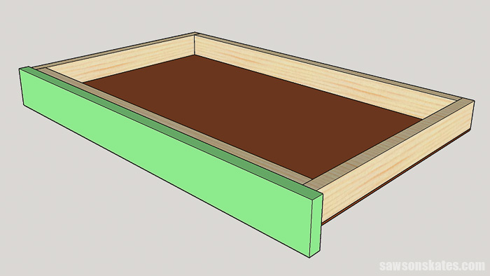 DIY ladder desk - install the drawer