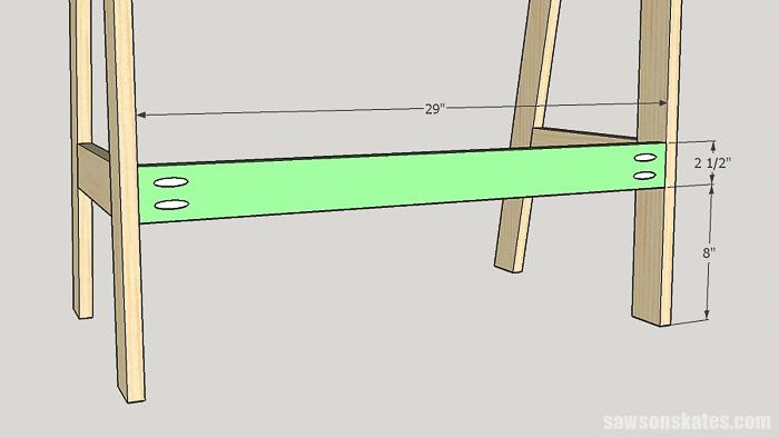 DIY ladder desk - attach the back bottom rail