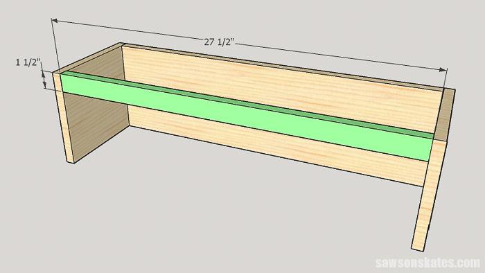 DIY ladder desk - cut and attach the cabinet rail