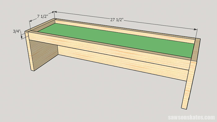 DIY ladder desk - cut and attach the cabinet top