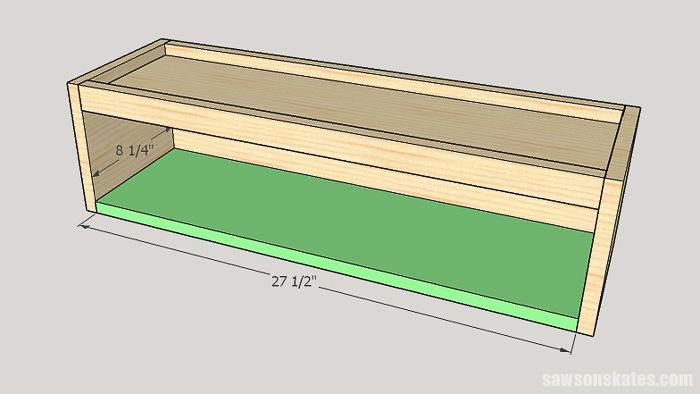 DIY ladder desk - cut and attach the cabinet bottom