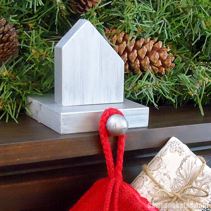 30 minute rustic DIY Christmas Village - was inspired by this DIY stocking holder