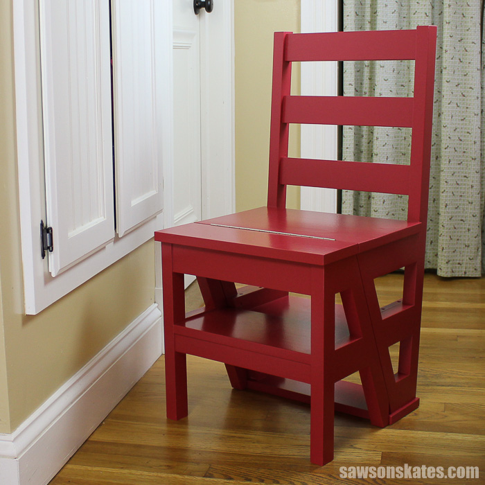 Learn how to make a step ladder chair with these free plans! This DIY chair serves as an extra seat and then flips to become a ladder for an extra boost!