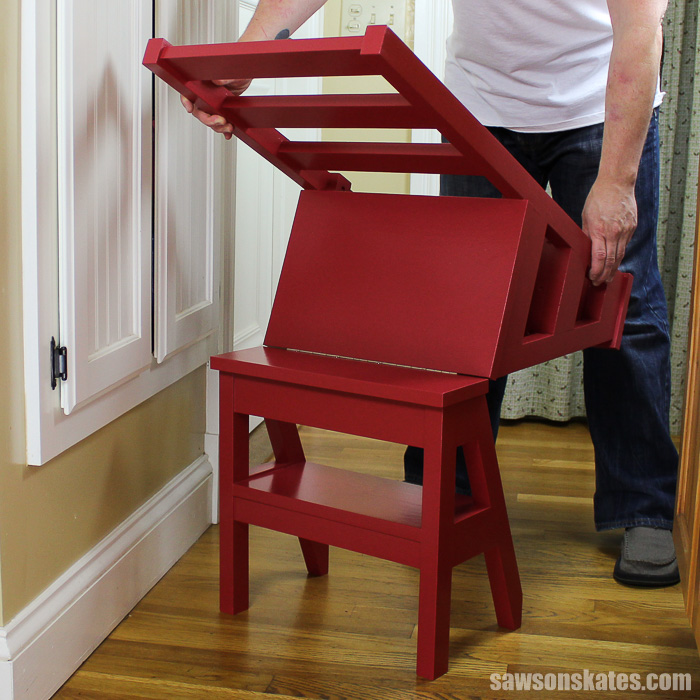 a DIY chair flipping from a chair to a step ladder