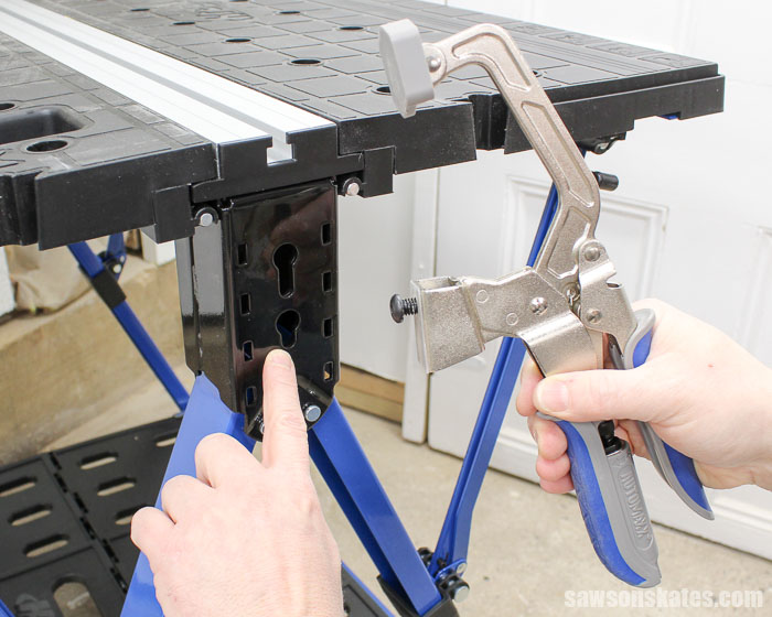 Best Workbench Features - The bench clamp can also be mounted to the legs of the Mobile Project Center.