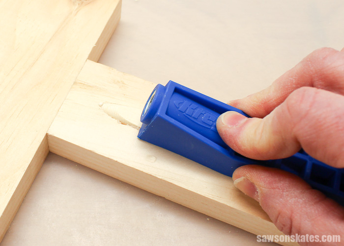 Apply glue to the pocket hole or the pocket hole plug, slide the plug in the hole and use the Mini to seat the plug all the way in the hole.