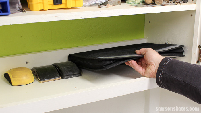 Sandpaper Storage Solution - now the sandpaper is organized and hardly takes up any space