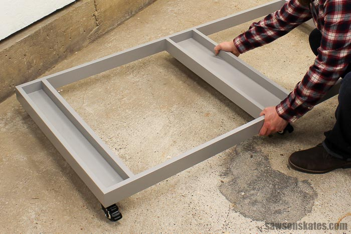 The ultimate workbench base lifts out of the way to free up floor space
