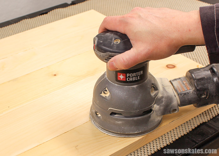 Furniture Finishing Mistakes - I prefer sanding my DIY furniture projects with a random orbit sander. For most projects I only need to use 120 grit sandpaper as my final grit