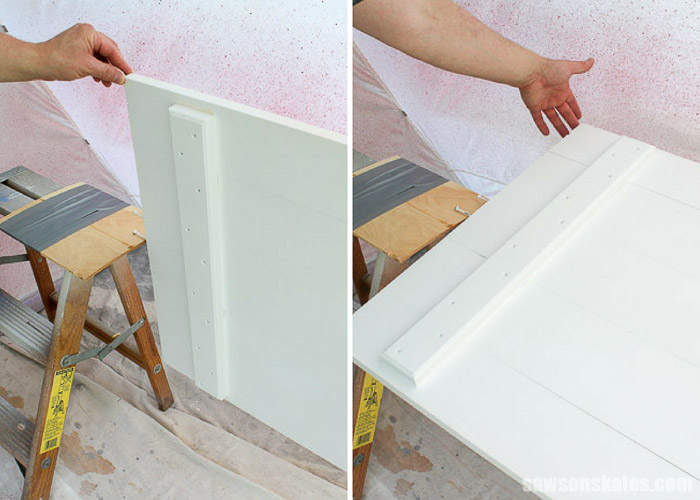 For an easy way to spray paint doors add a screw or lag bolt to each of the door to act as a pivot point.