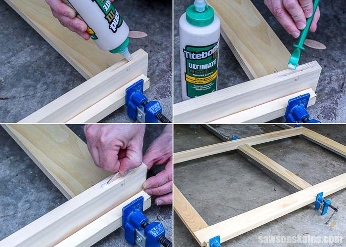 Glue is applied and biscuits are inserted to make DIY wood storm windows