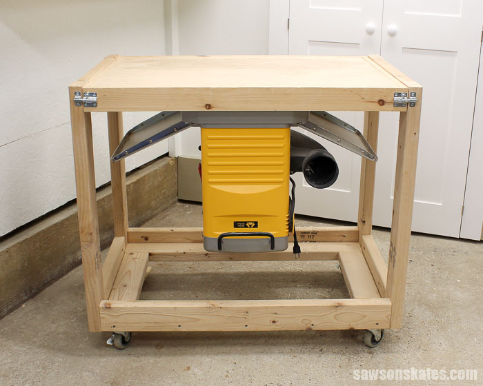 A DIY flip-top cart is a great space-saver for a small workshop. This version was built 2 years ago using 2x4s instead of plywood. Let's check in and see how it's holding up.