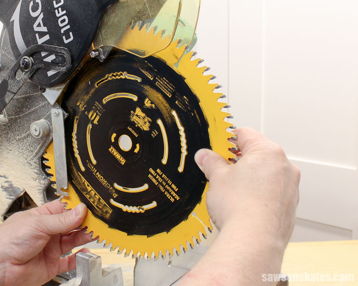 Remove the blade from the miter saw