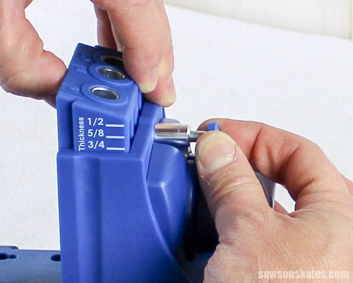 Prevent Rough Pocket Holes - setup the Kreg Jig Drill Guide