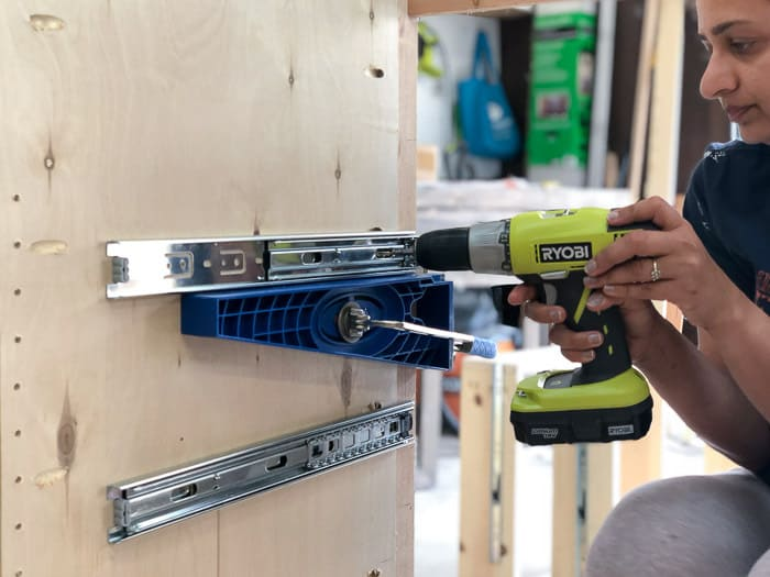 Cabinet making tools like a Drawer Slide Jig makes it simple to install drawer slides