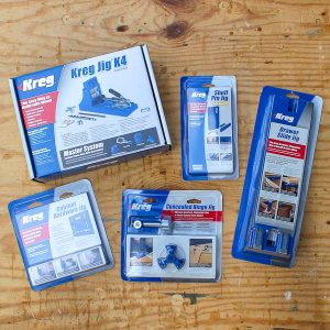 The Kreg Jig, Kreg Shelf Pin Jig, Kreg Drawer Slide Jig, Kreg Concelead Hinge Jig and the Kreg Cabinet Hardware Jig make building furniture and cabinets easier