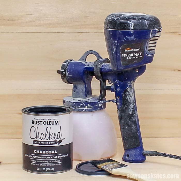 Spraying chalk-style paint is easy and so much quicker than applying with a paint brush. All you need is the paint, a paint sprayer, and a spray shelter.
