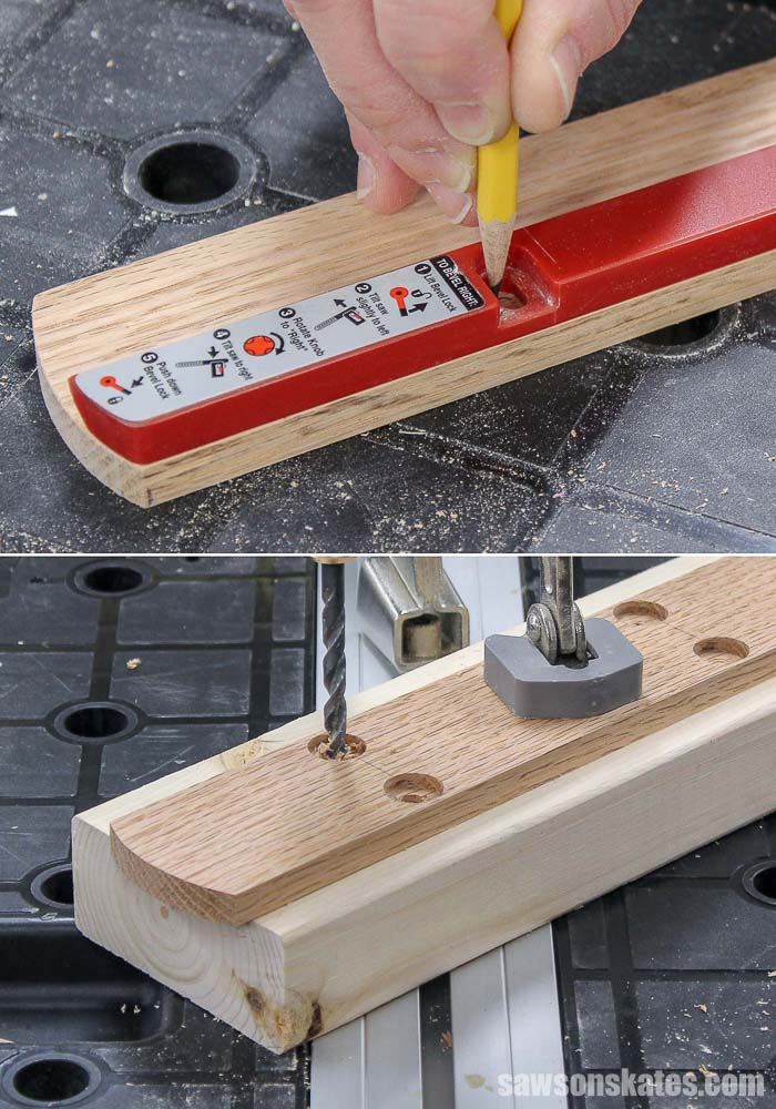 Mounting holes are being drilled to make a DIY miter saw zero clearance insert