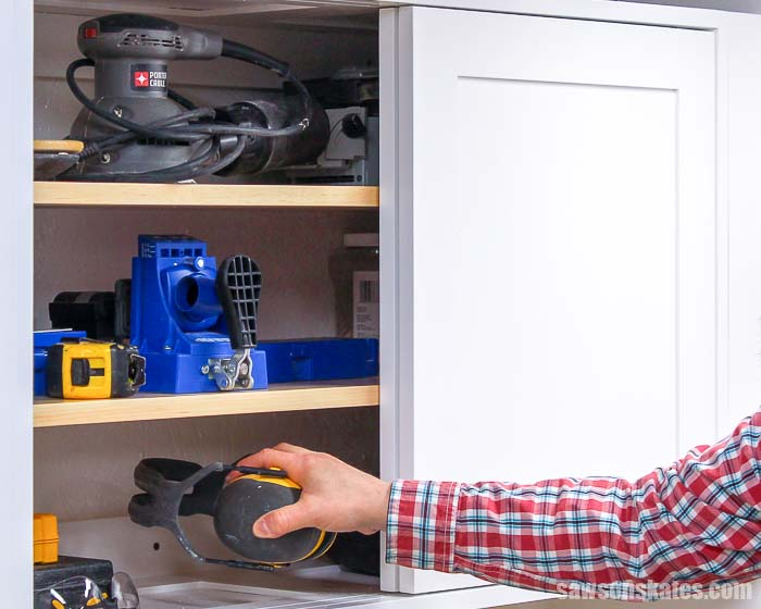 Build your own DIY tool storage cabinets with these free plans! They feature adjustable shelves and sliding doors. Perfect for organizing a small workshop.