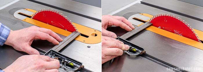 How to buy the best table saw for the money: make sure the blade is a square to the miter gauge slot.